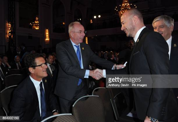 Past England managers Fabio Capello and Sven Goran Eriksson greet Alan Shearer during the FA Anniversary Celebrations Launch at the Grand Connaught...
