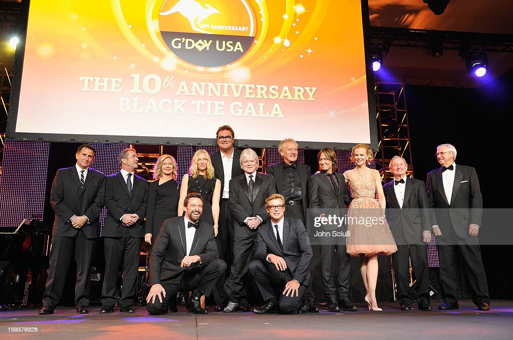 Past honorees Anthony Lapaglia, Mel Gibson, Olivia Newton-John, Hugh Jackman, Toni Collette, Luc Longley, Russell Hitchcock, Simon Baker,Graham Russell, Keith Urban, Nicole Kidman, Rod Laver and Roy Emerson onstage during the 2013 G'Day USA Los Angeles Black Tie Gala at JW Marriott Los Angeles at L.A. LIVE on January 12, 2013 in Los Angeles, California.