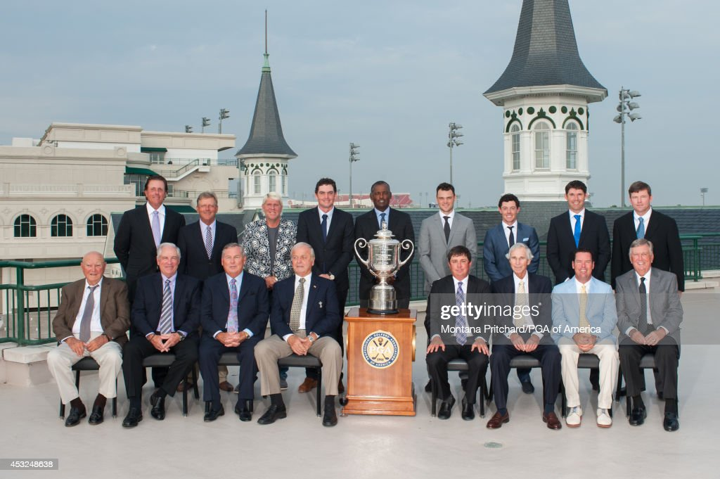 Phil Mickelson, Mark Brooks, John Daly, Keegan Bradley, <a gi-track='captionPersonalityLinkClicked' href=/galleries/search?phrase=Vijay+Singh&family=editorial&specificpeople=179484 ng-click='$event.stopPropagation()'>Vijay Singh</a>, Martin Kaymer, <a gi-track='captionPersonalityLinkClicked' href=/galleries/search?phrase=Rory+McIlroy&family=editorial&specificpeople=783109 ng-click='$event.stopPropagation()'>Rory McIlroy</a>, <a gi-track='captionPersonalityLinkClicked' href=/galleries/search?phrase=Padraig+Harrington&family=editorial&specificpeople=175865 ng-click='$event.stopPropagation()'>Padraig Harrington</a>, Shaun Micheel; (Front Frow L-R): Doug Ford, Dave Stockton, Lanny Wadkins, Bobby Nichols, Jason Dufner, Hubert Green, Rich Beem, Al Geiberger pose for a photograph during Practice Rounds at the 96th PGA Championship, at Churchill Downs, on August 5, 2014 in Louisville, KY.