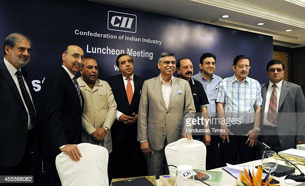 Past President CII and CoChairman IndiaPakistan Joint Business Forum Sunil Kant Munjal with HighLevel Business Delegation from Pakistan during the...