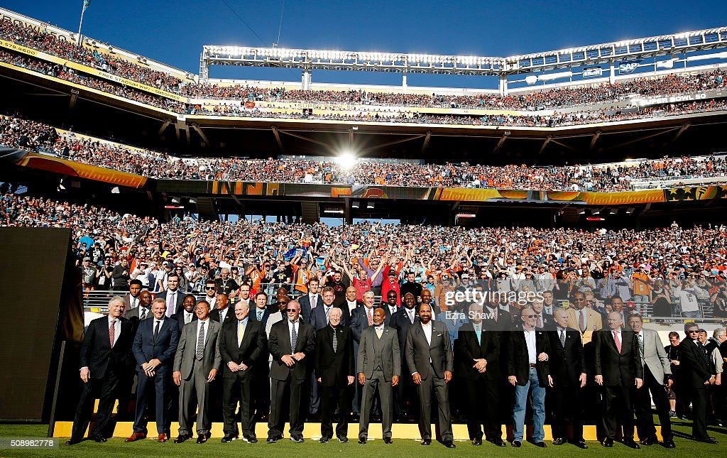 Past Super Bowl MVPs look on during Super Bowl 50 between the Denver Broncos and the Carolina Panthers at Levi's Stadium on February 7, 2016 in Santa Clara, California.