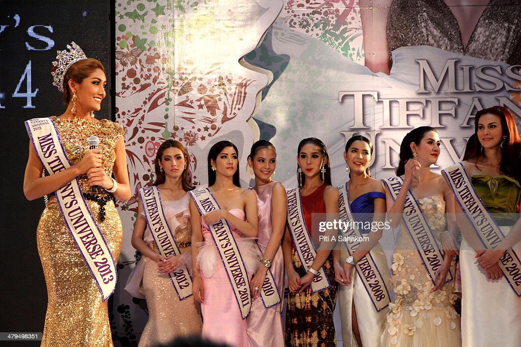 Past winners of the Miss Tiffany Universe contest, pose on stage during a press conference in Bangkok. About 70 candidates registered for the contest. The Miss Tiffany Universe contest has been running for 16 years, with all of the transexual or transvestite contestants, aiming to promote human rights for the transgender population in Thailand.