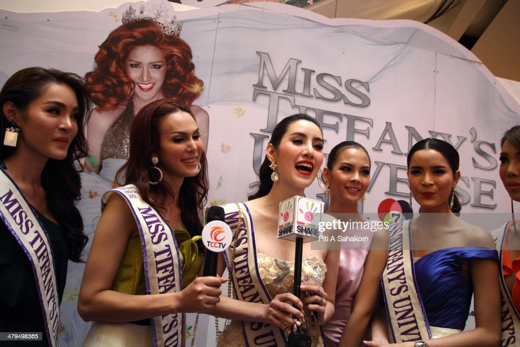 Past winners of the Miss Tiffany Universe contest speak with media during a press conference in Bangkok. About 70 candidates registered for the contest. The Miss Tiffany Universe contest has been running for 16 years, with all of the transexual or transvestite contestants, aiming to promote human rights for the transgender population in Thailand.
