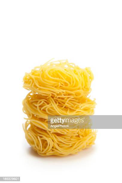 Pasta capelli d'angelo on white background