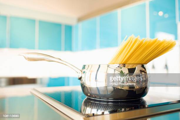 Pasta in pot on stove