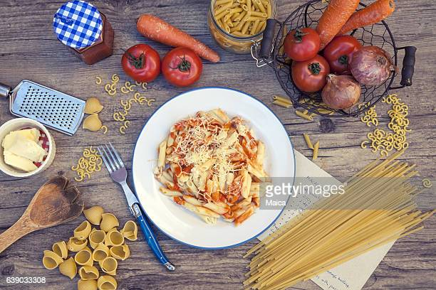 Pasta, raw and cooked