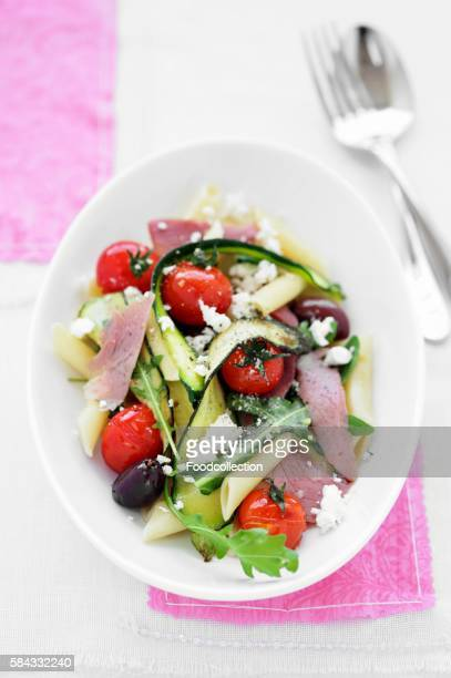 Pasta salad with ham and vegetables, seen from above