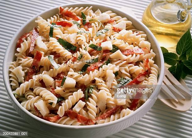 Pasta Salad with Salami and Basil
