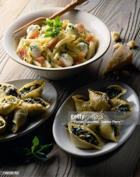 Pasta salad with smoked ham,mozarella and lemon,spinach conchiglie
