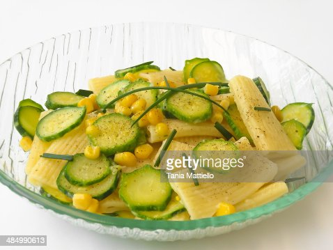 Pasta with corn and zucchini