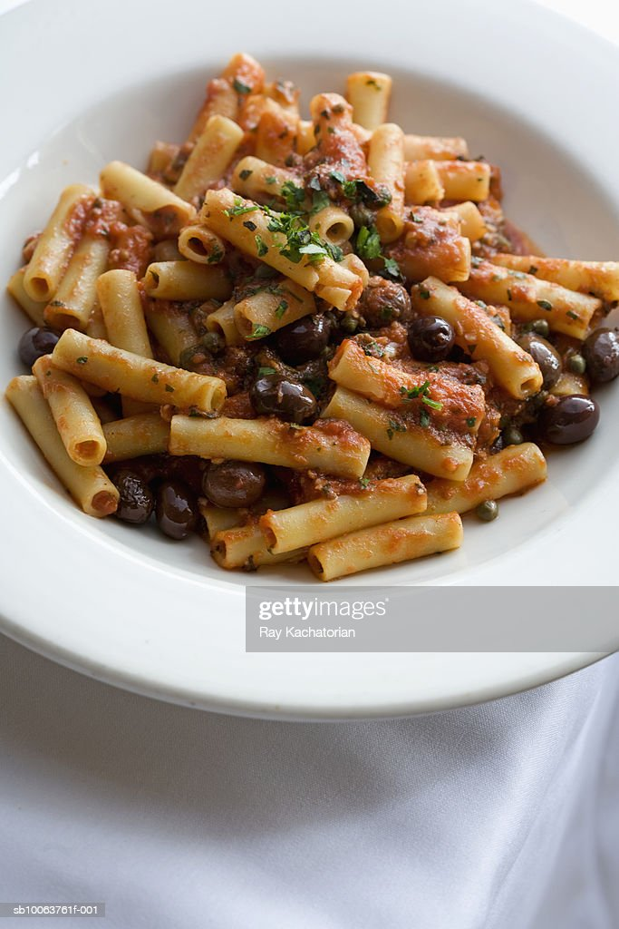 Pasta with olives : Stock Photo