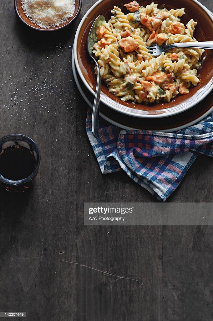 Pasta with Salmon : Stock Photo