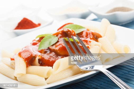 Pasta with tomato sauce : Stock Photo