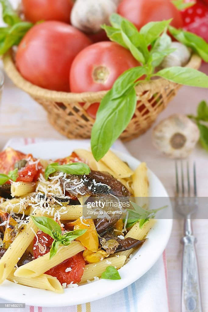 Pasta with vegetables : Stock Photo