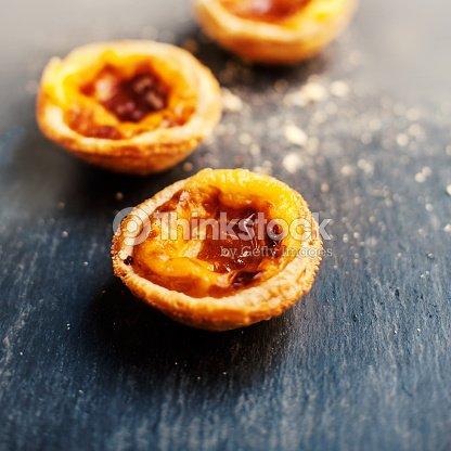Belem Oder Gebacks Pasteis De Nata Portugiesisch Kuchen Stock Foto