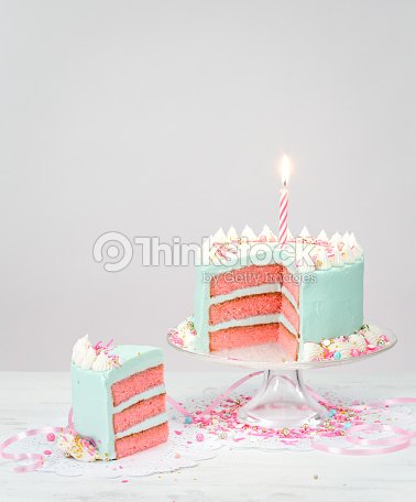 Pastel Blue Birthday Cake With Pink Layers Stock Foto