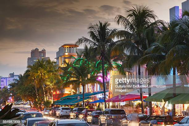 Pastel color buildings on Ocean Drive, in the famous Art Deco District in South Beach, at dusk, Miami Beach, Florida, USA