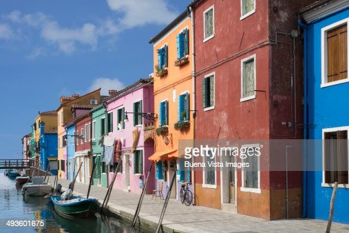 Color Houses pastel color houses over channel in burano stock photo | getty images