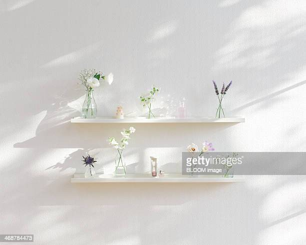 Pastel colored flowers in vases on shelves
