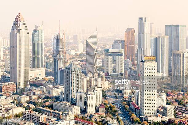 Pastel colored skyline of a Chinese metropolis