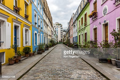 Image result for Pastel-colored homes of Rue Crémieux