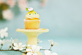 cupcake on yellow stand with pastel background and flowers