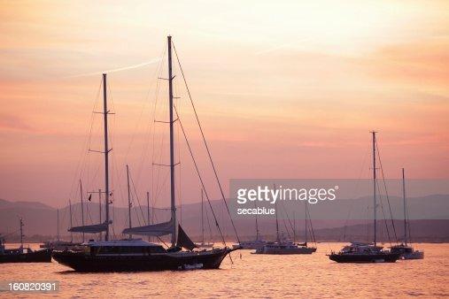 Pastel dusk sky and yachts