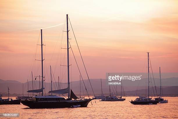 Pastel dusk sky and yachts
