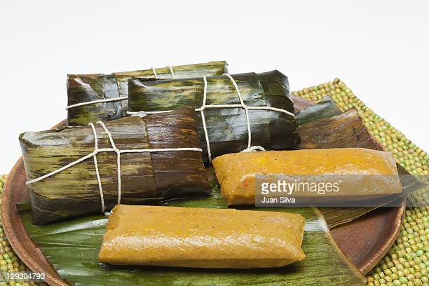 Pasteles en Hoja or Dominican Pasteles on a dish.