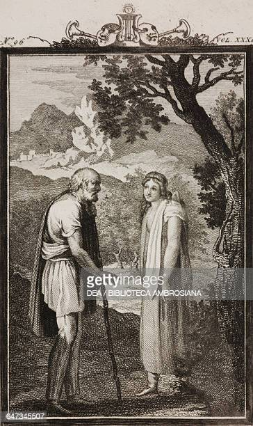 Pastor Artandro meeting his daughter Griselda engraving by Antonio Viviani from a drawing by G Steneri from Griselda Act II Scene 3 Comedies Volume...