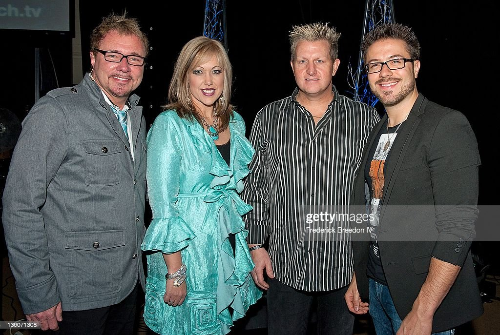 Pastor Danny Chambers, Pastor Jillian Chambers, Gary LeVox and Danny Gokey pose after a performance at Oasis Church for the 'Light' Christmas Event on December 21, 2011 in Nashville, Tennessee.