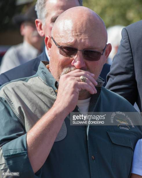 Pastor Frank Pomeroy reacts during a press conference on November 6 2017 at the First Baptist Church in Sutherland Springs Texas following a mass...
