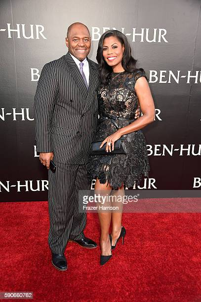 """Pastor John Allen Newman and Omarosa Manigault attend the LA Premiere of the Paramount Pictures and MetroGoldwynMayer Pictures title """"BenHur"""" at the..."""