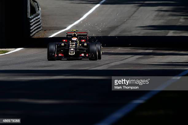 Pastor Maldonado of Venezuela and Lotus drives during qualifying for the Formula One Grand Prix of Italy at Autodromo di Monza on September 5 2015 in...