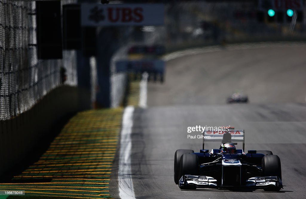 Pastor Maldonado of Venezuela and Williams drives during practice for the Brazilian Formula One Grand Prix at the Autodromo Jose Carlos Pace on November 23, 2012 in Sao Paulo, Brazil.