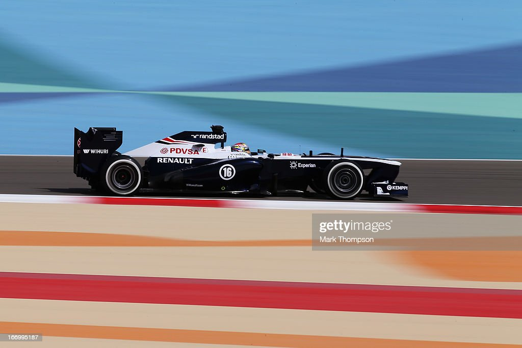 <a gi-track='captionPersonalityLinkClicked' href=/galleries/search?phrase=Pastor+Maldonado&family=editorial&specificpeople=4842574 ng-click='$event.stopPropagation()'>Pastor Maldonado</a> of Venezuela and Williams drives during practice for the Bahrain Formula One Grand Prix at the Bahrain International Circuit on April 19, 2013 in Sakhir, Bahrain.