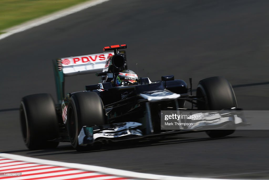 Pastor Maldonado of Venezuela and Williams drives during the Hungarian Formula One Grand Prix at the Hungaroring on July 29, 2012 in Budapest, Hungary.