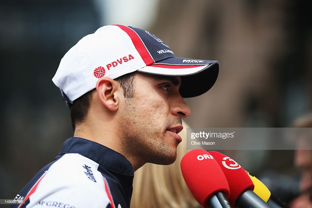<a gi-track='captionPersonalityLinkClicked' href=/galleries/search?phrase=Pastor+Maldonado&family=editorial&specificpeople=4842574 ng-click='$event.stopPropagation()'>Pastor Maldonado</a> of Venezuela and Williams is interviewed by the media during previews to the Monaco Formula One Grand Prix at the Monte Carlo Circuit on May 23, 2012 in Monte Carlo, Monaco.
