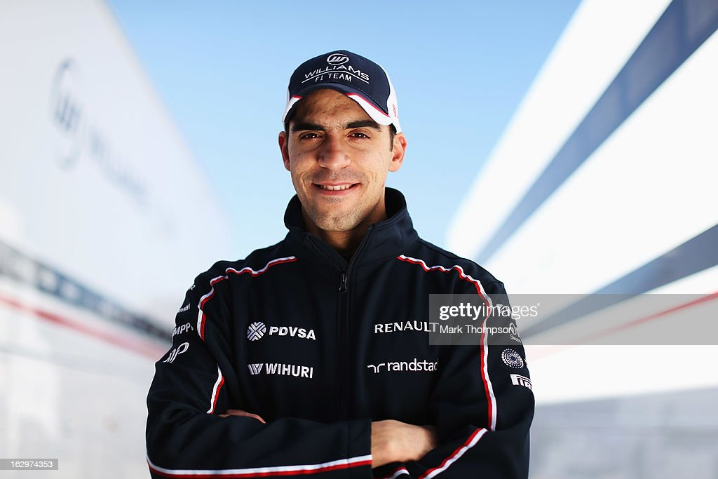 <a gi-track='captionPersonalityLinkClicked' href=/galleries/search?phrase=Pastor+Maldonado&family=editorial&specificpeople=4842574 ng-click='$event.stopPropagation()'>Pastor Maldonado</a> of Venezuela and Williams poses for a photograph during day three of Formula One winter testing at the Circuit de Catalunya on March 2, 2013 in Montmelo, Spain.
