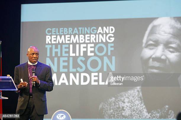 Pastor Mosa Sono of Grace Bible Church during a service held in honour of Nelson Mandela on December 8 2013 in Soweto South Africa Prayers services...
