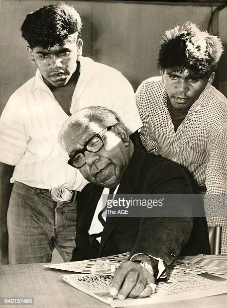Pastor Sir Douglas Nicholls with two teenage aboriginal brothers Hugh and Stan Coombes 8th December 1967 THE AGE ARCHIVES