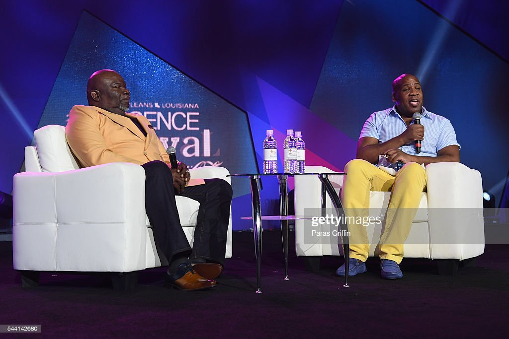 Pastor T. D. Jakes speaks onstage with Patrik Henry Bass at the 2016 ESSENCE Festival Presented By Coca-Cola at Ernest N. Morial Convention Center on July 1, 2016 in New Orleans, Louisiana.
