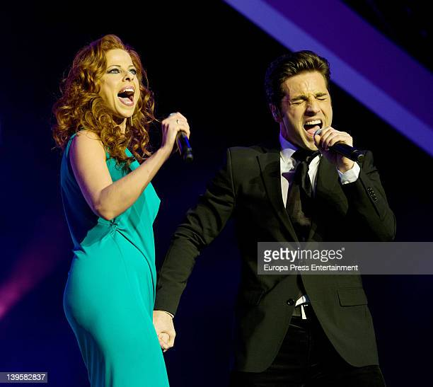 Pastora Soler and David Bustamante perform on stage during Cadena Dial awards 2011 at Adan Martinez Auditorium on February 22 2012 in Tenerife Spain