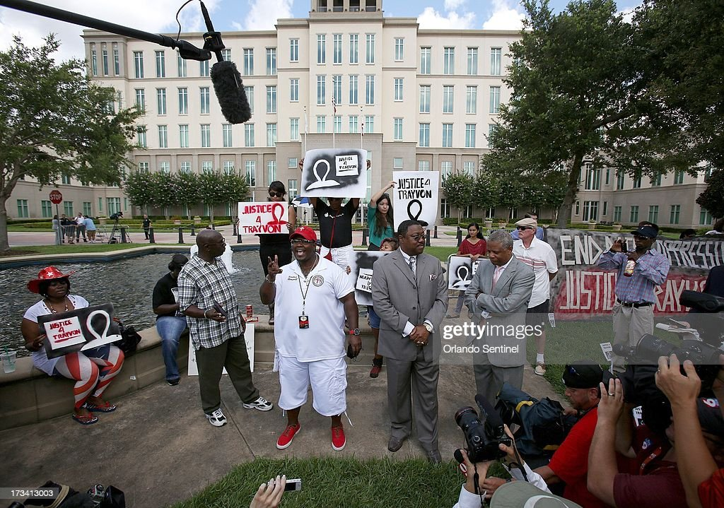 Pastors from the Daytona Beach Black Clergy Alliance speak to protesters and the media outside of the Seminole County Criminal Justice Center in Sanford, Florida, Saturday, July 13, 2013. George Zimmerman is charged with 2nd-degree murder in the fatal shooting of Trayvon Martin, an unarmed teen, in 2012.