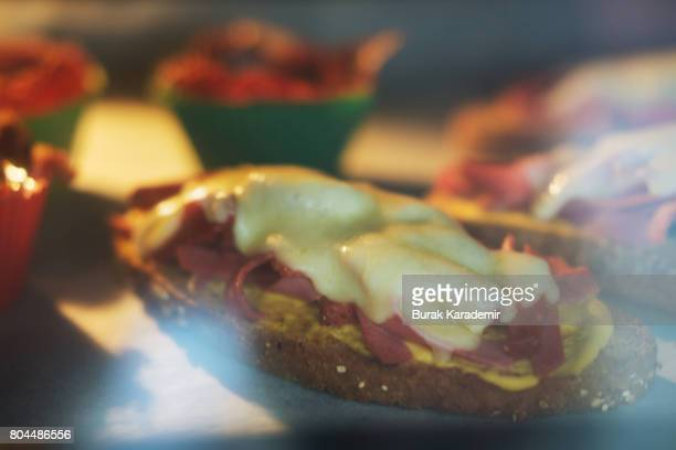 Pastrami Egg and Sandwiches in oven