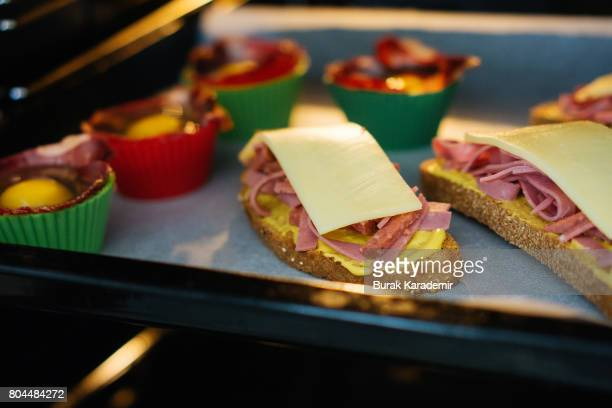 Pastrami Egg and Sandwiches ready to be baked!