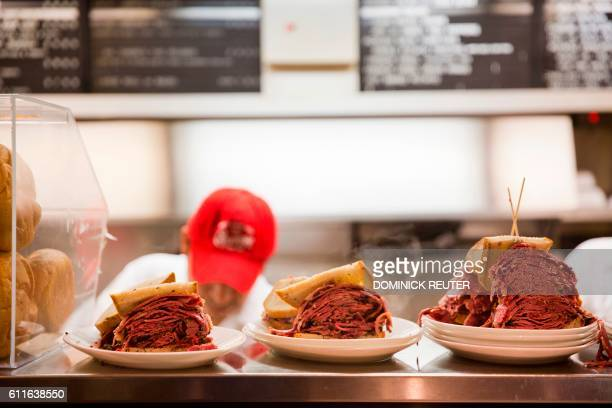 Pastrami sandwichs are seen at the Carnegie Deli on September 30 in New York The internationally known restaurant icon announced Friday that it would...