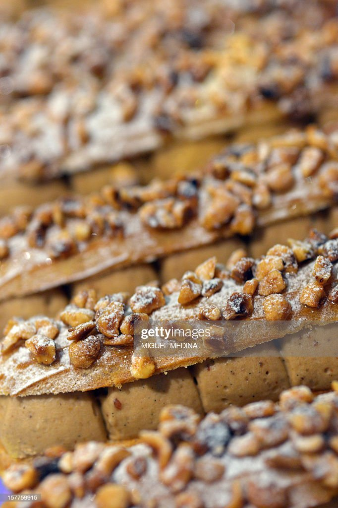 Pastries are displayed at a shop of French gourmet food company Fauchon, on December 6, 2012 in Paris.