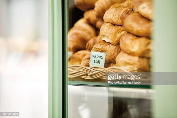 Pastries in bakery display
