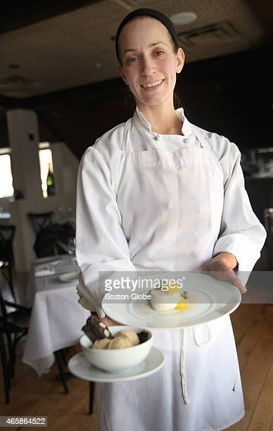 Pastry chef Katie Hamilburg of 80 Thoreau in Concord Mass is pictured with some of her desserts including the coffee cardamon ice cream and coconut...